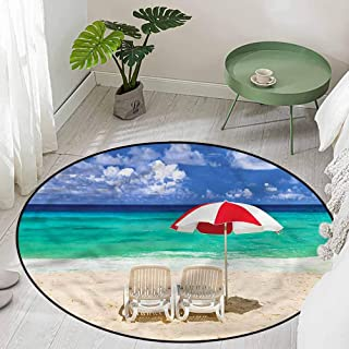 Round Non-Slip Bath Hotel Mats Honeymoon in Maldives Theme Diameter 66 inch Outdoor Carpet
