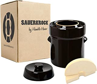 Humble House SAUERKROCK Fermentation Crock with Glazed Weights - 5 Liter (1.3 Gallon) German-Style Water Sealed Jar in Traditional Brown for Fermenting Sauerkaut, Kimchi, Pickles and More