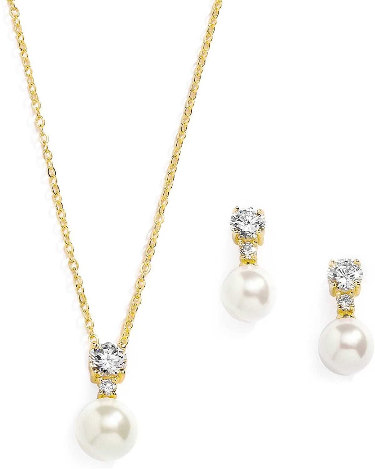 Mariell Gold CZ & Ivory Pearl Wedding Necklace and Earrings Jewelry Set for Bridesmaids & Brides