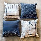 Bohemian Cotton Designer Sofa Cushion Cover Decorative Set Of 4 18x18 With Zipper For Bedroom Couch Indigo Elephant Shibori Tie Dye Block Print Pillow Throws Cases Party Home Décor Standard Size