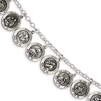 Stainless Steel Miraculous Medal Virgen Milagrosa Bracelet Four Solid Oval Medals TC Religious Gifts Catholic