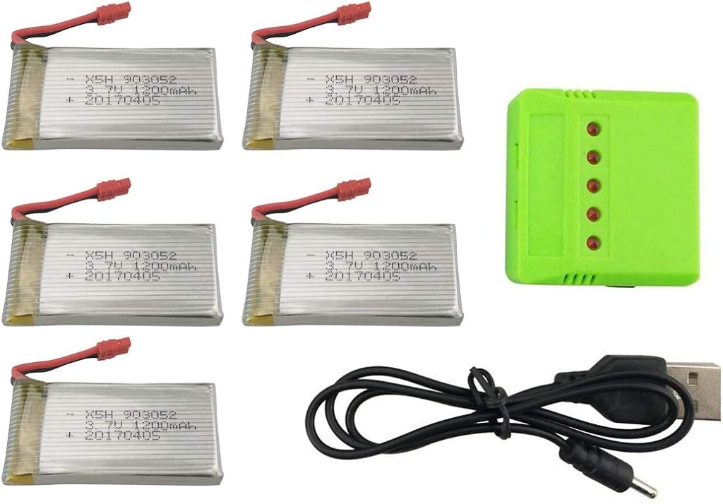 5PCS 3.7V 1200mAh Lithium Battery Max 54% OFF with 5 SYMA X Charger Reservation in 1 for