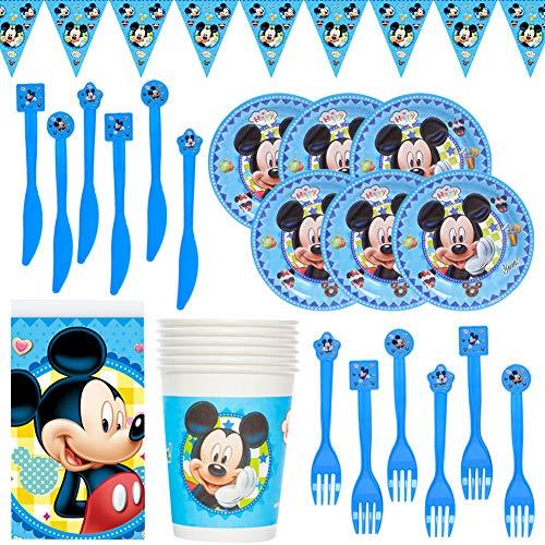 CYSJ 26PCS Set de Fiesta de cumpleaños de Mickey Disney Mickey Mouse Party Decoration Set para 6 Invitados Platos Tazas Servilletas Pack de Fiesta Mickey Mantel Sirve