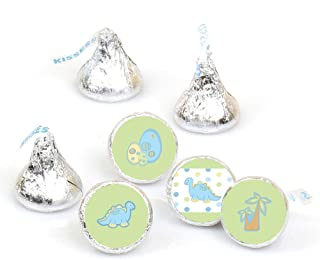Baby Boy Dinosaur - Baby Shower Round Candy Sticker Favors - Labels Fit Hershey's Kisses (1 Sheet of 108)