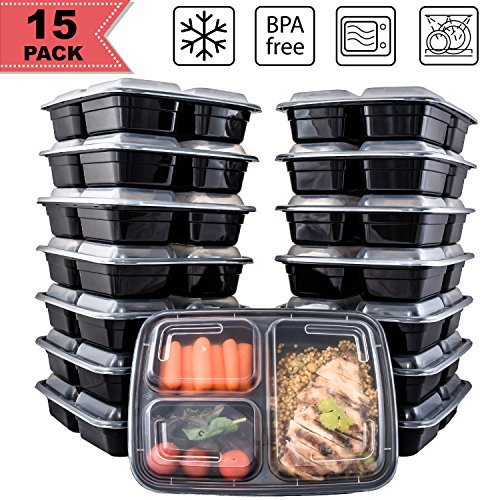 [15 Pack] FreshPREP Meal Prep Containers - BPA Free, Microwave, Dishwasher & Freezer Safe Stackable Portion Control Container for Food Prep - Bento Box Fitness Meal Containers - 3 Compartment--33oz