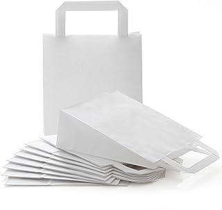 Logbuch-Verlag 25 kleine WEISSE Papiertragetasche Papiertüten Henkel 18 x 8 x 22 cm Geschenktüte Papierbeutel Verpackung M...