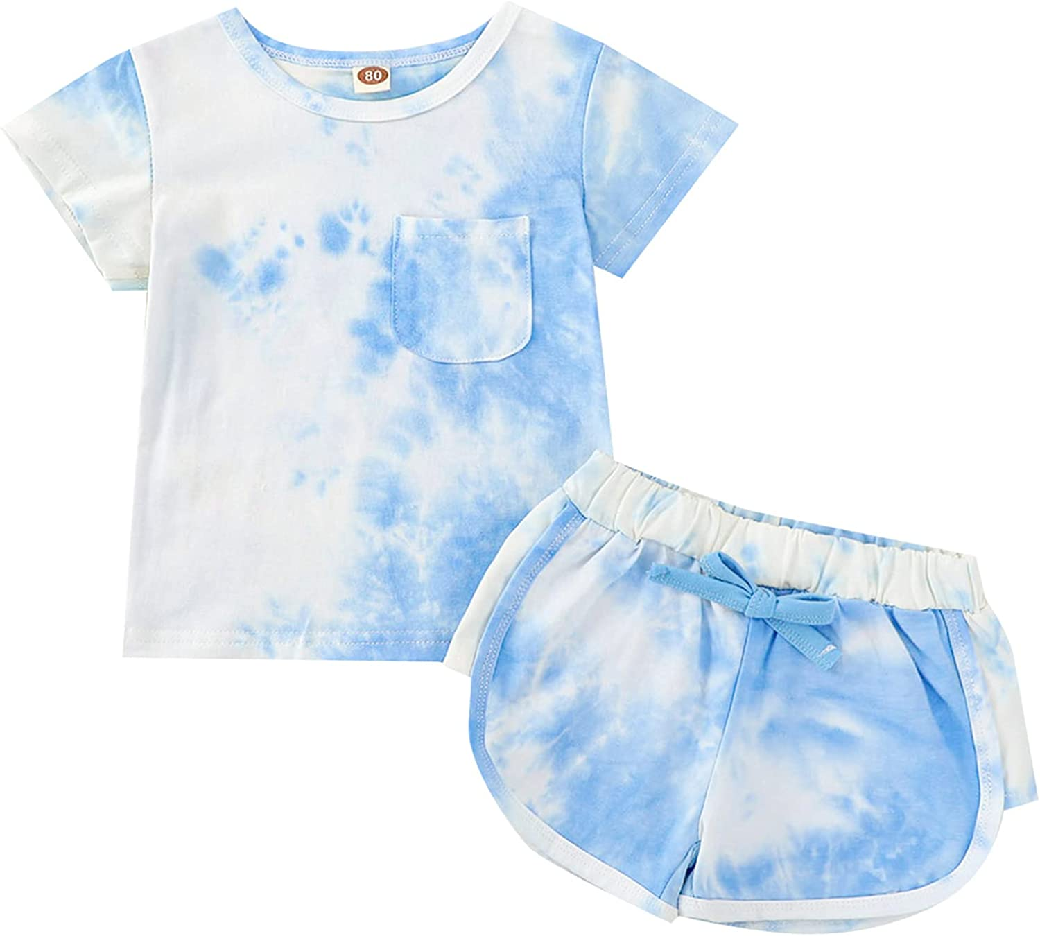 Toddler Baby Girl Boy Outfit Kids Tie-dye T-Shirt Short Sleeve Tops Shorts Suit Outfit 2Pcs Summer Clothes Set