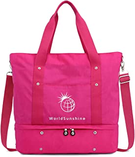 World Sunshine Unisex Carry On Luggage Weekender Overnight Travel Gym Tote Lightweight Waterproof Bottom Compartment Shoulder Carry-on Bag with Zip and Sleeve (Pink)