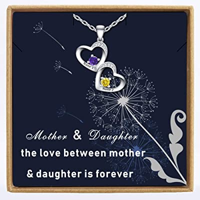 DesignForYou Personalized Double Heart Name Nec...