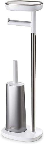 brosse toilette avec support /à brosse pratique mDesign brosse WC fine en inox argent/é porte brosse WC classique pour salle de bain ou WC d/'invit/és