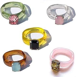 BOQIAN Anillo de resina colorido, anillo de resina acrílica retro, anillos geométricos transparentes, regalo para mujeres ...