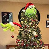 Radrdior Grinch Christmas Decorations Furry Plush Doll Green Grinch Arm & Head Ornament Holder Tree Pendant Topper Sets for Xmas Home Party (Arm+Head)
