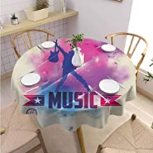 DILITECK Teen Room Decorative Round Tablecloth Rock Star with Guitar Inside Watercolor Cloud with Musical Quote Print Picnic Diameter 50