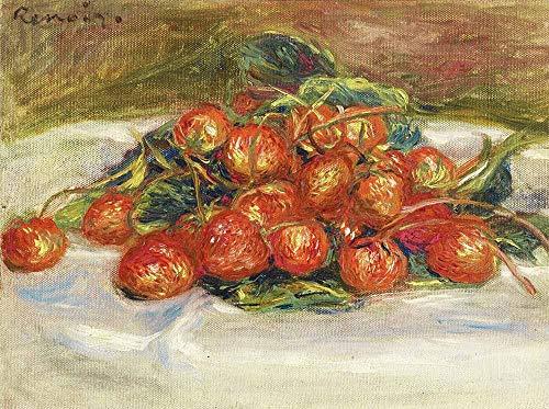 FAN C. Pierre-Auguste Renoir - Natur Tot Mit Erdbeeren Leinwandbilder Reproduktionen Gerollte 55X40 cm - Stillleben Früchte Gemälde Gedruckt Wandkunst