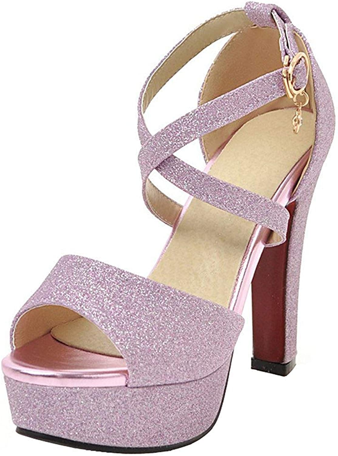 Wallhewb Women's Fashion Sequined Peep Sandals - Buckle Cross Strap Platform - Chunky High Heels Club shoes Sweet Comfortable Overlapping Rubber Sole Leather Joker Dress gold 4 M US Chunky shoes