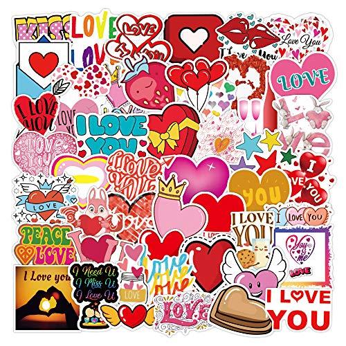 WayOuter Pegatinas San Valentín 100 Uds, Corazón Rojo Calcomanías de Graffiti Impermeables de Anime para portátil, monopatín, Pegatina Impermeable para Coche