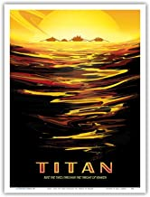 Titan - Ride The Tides Through The Throat of Kraken - NASA Exoplanet Travel Poster - Master Art Print 9in x 12in