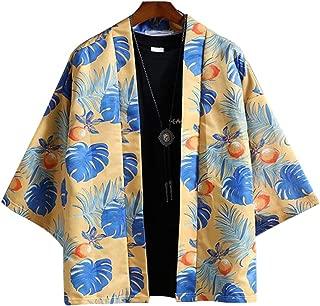 Qiyun Autumn Shirt Men Women Harajuku Japanese Shirt 3/4 Sleeve Loose Kimono Yukata Coat Outerwear