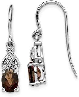Solid 925 Sterling Silver Diamond and Brown Simulated Smokey Quartz Earrings (.004 cttw.) (25mm x 5mm)