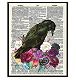 Goth Skull, Roses, Flowers Wall Art - Edgar Allan Poe The Raven Home Decor Picture - Gift for Medieval Gothic, Wicca, Wiccan, Witchcraft, Occult Fan - Creepy Poster for Bedroom, Living Room