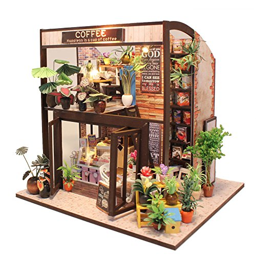 CUTEBEE Miniatura casa delle Bambole con mobili, Fai da Te Kit di Dollhouse di Legno, in Scala 1:24 Spazio Creativo per Idea Regalo San Valentino(Coff