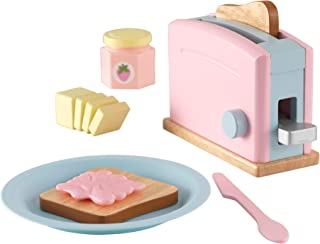 KidKraft 63374 Pastell brödrost trä låtsas leksak matset, köksredskap och tillbehör för barn lekkök