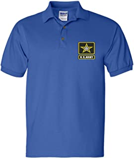 Men's Polo T Shirt US Army Embroidered Military USA Army
