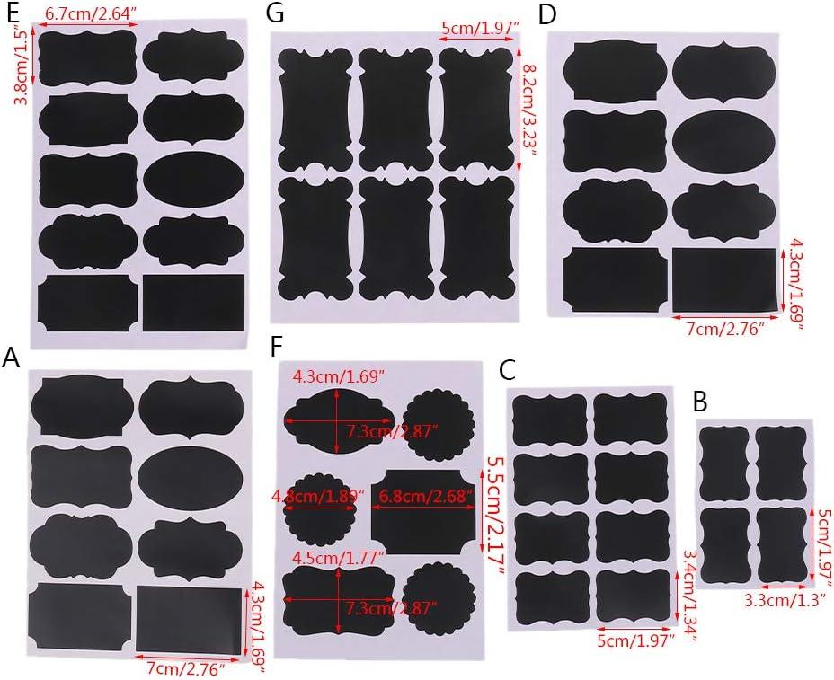 JHD 1 Ensemble Tableau Noir Tableau Noir Craie Tableau Autocollant d/écalcomanies Artisanat Cuisine Bocal /étiquettes Stylo Tasse Bocal Confiture Organisation
