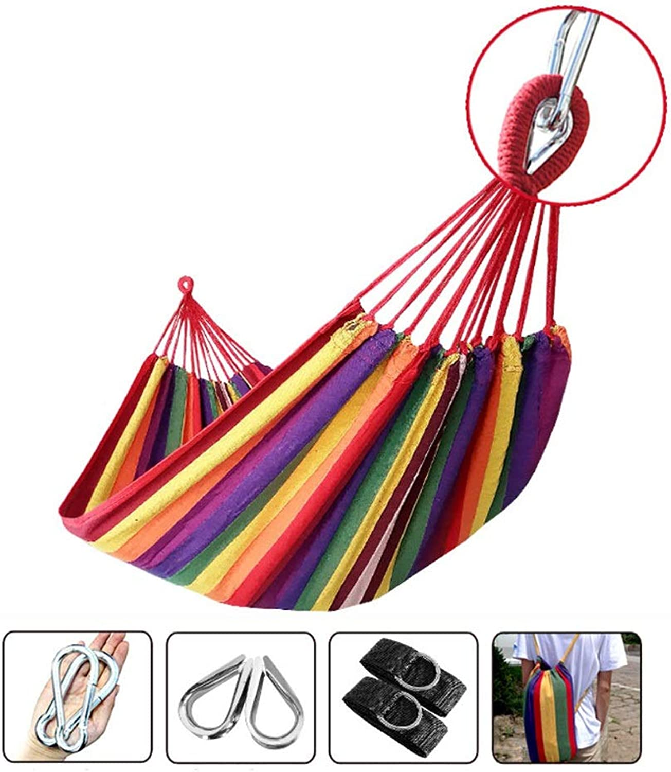 SSHHI Leisure Hammock, Woven with Metal Buckle Durable Cotton Canvas Double Woven Garden Courtyard Swing Bed 2 Person 280  160cm Load 250Kg (color   Red, Size   280  160CM)