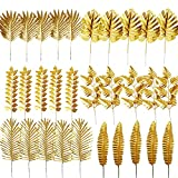 30PCS Artificial Plants Golden Leaves Mixed Tropical Palm Leaf Fake Gold Plant Bush Grass Fern Bushes Faux Shrubs Greenery for Party Wedding Decorations Beach Birthday Luau Party Decor