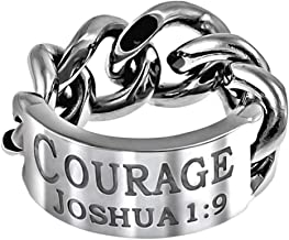 The Quiet Witness K75 Courage Joshua 1:9 Chain Link Mens Ring Wedding Band Scripture Be Strong and Courageous
