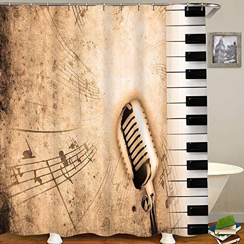 HUAYEXI Duschvorhang 180x180cm,schmutziger Musikhintergr& mit Klavier & Sepia,Duschvorhang Wasserabweisend-Duschvorhangringen 12 Shower Curtain mit