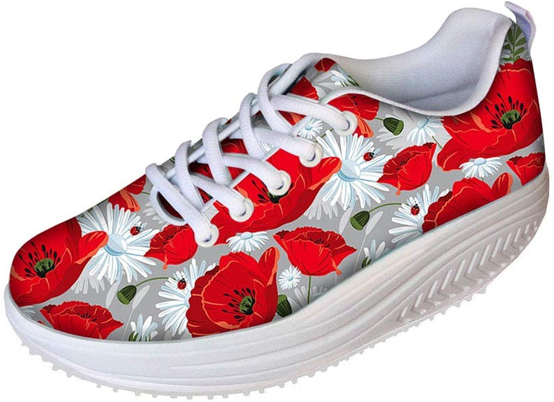 FOR U DESIGNS Vintage Floral pink Print Shape Ups Fitness Walking Sneaker Casual Women's Wedges Platform shoes