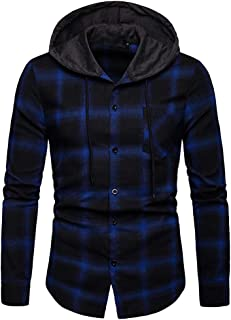 Clearance Sale! Hoodie for Men,Alalaso Men's Long Sleeve Hoodie Plaid Classic Flannel Shirt