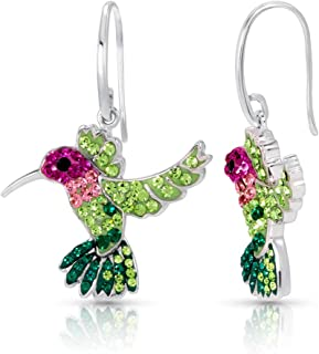 Colorful Crystal Earrings Flying Hummingbird Never Rust 925 Sterling Silver Natural and Hypoallergenic Hooks For Girls with Free Breathtaking Gift Box for a Special Moment of Love By BLING BIJOUX