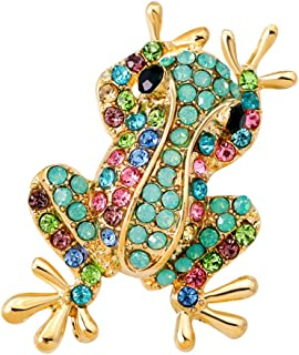 Fashion Natural Insect Animal Rhinestone Frog Brooch Pins For Women Girls | Color - Green