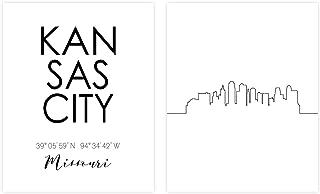 N&T Kansas City Skyline Wall Décor Prints - Set of 2 (8x10) Art Photos - Typography Minimalist Poster