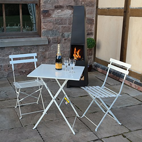 White 3 Piece Folding Metal Outdoor Patio Bistro Set Garden Furniture