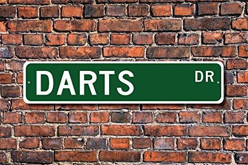 Aersing Darts Schild Fan Darts Geschenk Dartspieler Dartpfeile Lover Werfen Sport Target Sport Home Dekoration Wandschild Metall alunimum 45x 10cm
