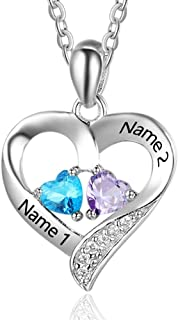 Lam Hub Fong Personalized Love Heart Pendant Necklaces for Women Mother's Silver-Tone Name Necklace with 2 5A Cubic Zirconia Birthstones Jewelry Necklace Gifts for Women/Mom/Wife/Girls/Sisters/Her