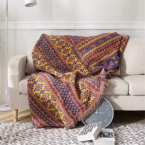 Natural Cotton sofá de la manta de algodón de banda de múltiples funciones manta del tiro para las sillas Settees Sofá cálido y acogedor, de doble cara, estilo étnico sofá de la manta,180*230cm