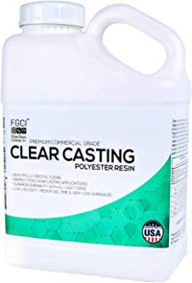 Clear Casting Resin, Polyester Resin, UV Resin kit, 1 Gallon NO Hardener, Liquid Plastic, Easy Cast, Resin Molds, Resin Casting, Craft Water, Realistic Fake Water, Molding Arts and Crafts