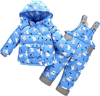 Unisex Baby Kids Solid Color Snowsuits with Solid Hooded 2 Pcs Down Jacket + Down Pants + Down Coat Garment Set