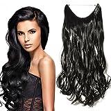 Haarteil Extensions 1 Tresse Haarverlängerung Synthetische Haare Haarverdichtung Gewellt 50cm #1 Schwarz