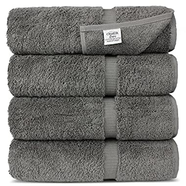Chakir Turkish Linens Turkish Cotton Luxury Hotel & Spa Bath Towel, Bath Towel - Set of 4, Gray