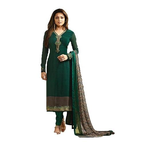 cfa3de2522 Green Royal Crape Embroidered Indian Pakistani Churidar Salwar Suit