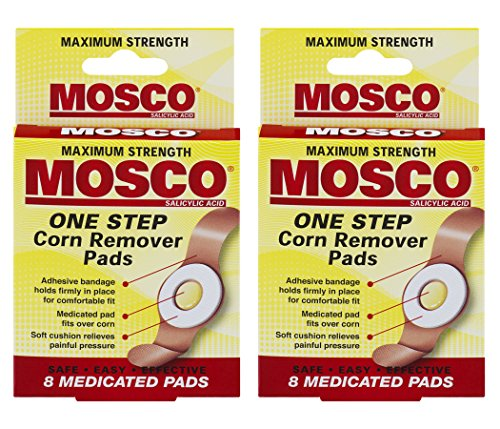 Mosco One Step Medicated Corn Remover Pads, Maximum Strength, 8-Count per Pack (2-Packs)