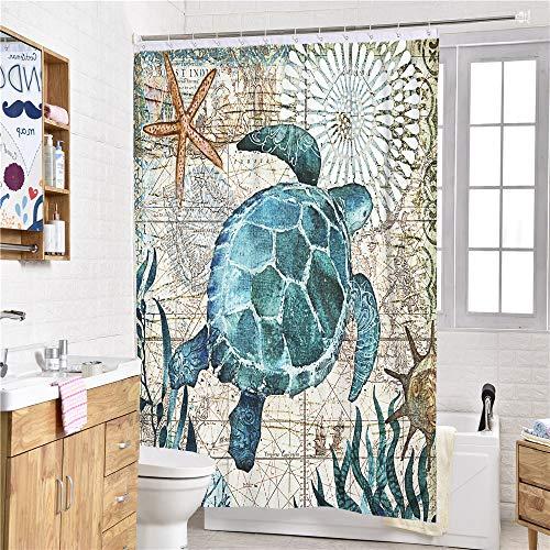 Sticker superb 3D Tier Schildkröte Blau Meer Duschvorhänge mit Haken, Schön Ozean Tier Drucken Duschvorhänge Anti-Schimmel Wasserdicht Polyester (Schildkröte 3, 120x180cm)
