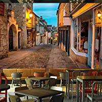 Djskhf 壁画壁紙ヨーロッパイタリアストリートタウン風景絵画写真壁壁画レストランカフェインテリア壁紙 360X250Cm