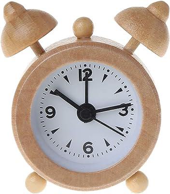 JOYKK Reloj Despertador de Madera Classic Mini Travel Decoración Creativa Pequeño Conveniente Mini Regalo para Estudiantes